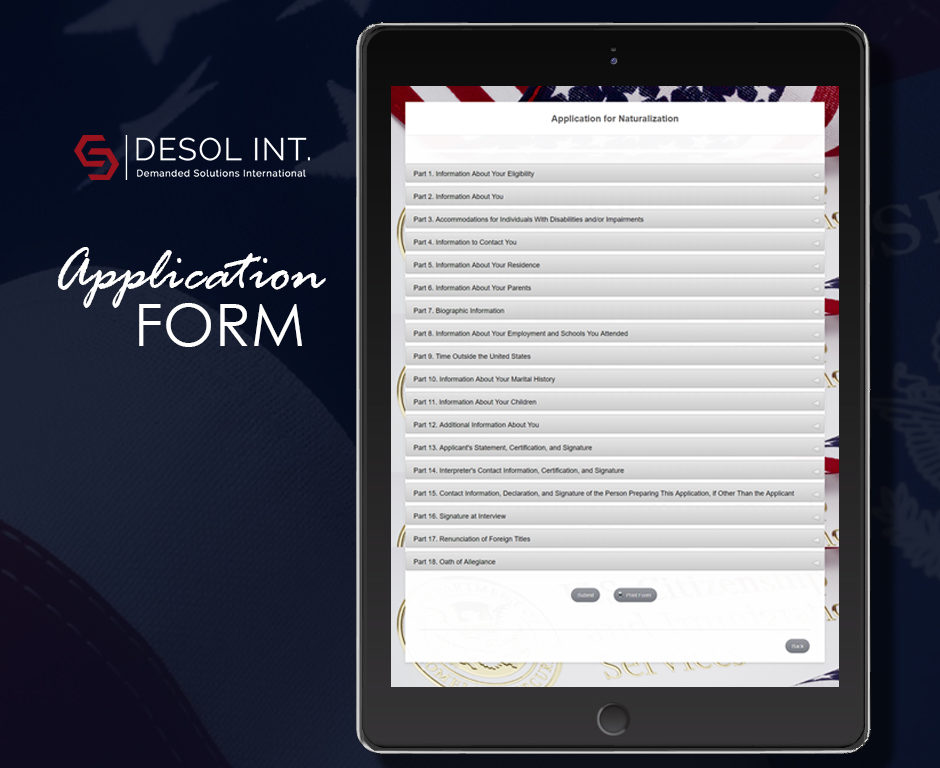 Application for Naturalization Health And Care Form